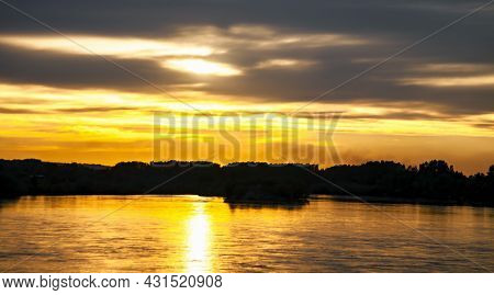 Evening Sunset Landscape With The Angara River In The City Of Irkutsk On A Summer June Day. A Heaven