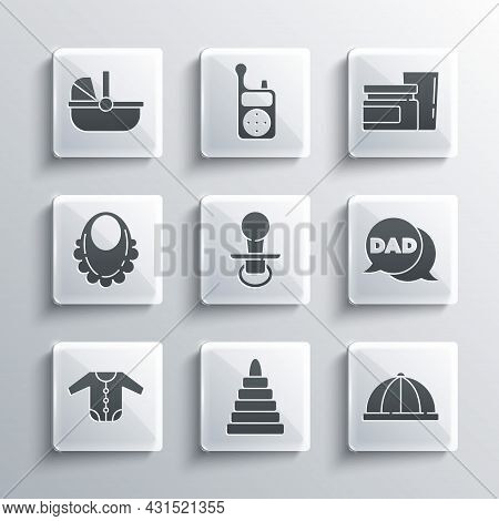 Set Pyramid Toy, Baby Hat, Speech Bubble Dad, Dummy Pacifier, Clothes, Bib, Stroller And Food Icon.