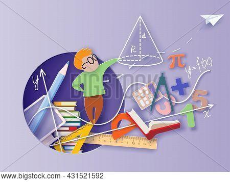 Back To School. Paper Cut Cartoon Little Boy Math Student Learning Mathematic