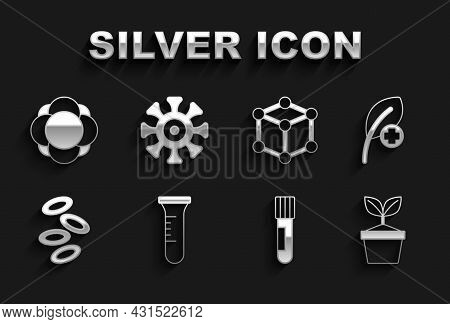 Set Test Tube And Flask, Leaf Or Leaves, Plant In Pot, Hemoglobin, Molecule, And Bacteria Icon. Vect