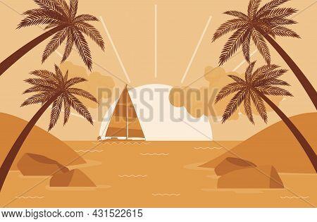 Palm Tree Silhouette, Sailboat, Sunset Sea Shore Beach Beautiful Scenery. Sundown, Stunning Coastal