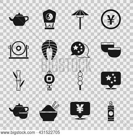 Set Firework, China Flag, Chinese Tea Ceremony, Japanese Umbrella From The Sun, Fish Steak, Gong, An