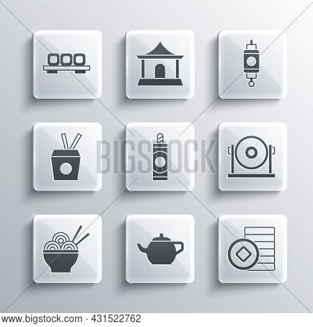 Set Chinese Tea Ceremony, Yuan Currency, Gong, Firework, Asian Noodles Bowl, Noodles Box And Chopsti
