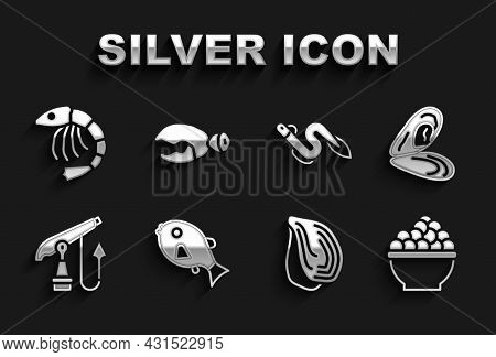 Set Tropical Fish, Mussel, Caviar, Fishing Harpoon, Eel, Shrimp And Lobster Or Crab Claw Icon. Vecto
