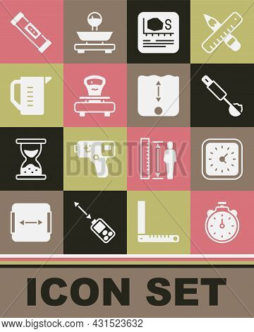 Set Stopwatch, Clock, Measuring Spoon, Area Measurement, Scales, Cup, Construction Bubble Level And