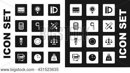 Set Protractor And Ruler, Micrometer, Calculator, Measuring Instrument, Crossed Pencil, Pressure Wat