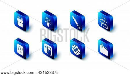Set Light Bulb, Marker Pen, Book, Document Folder With Clip, Basketball Ball, School Classroom, Exam