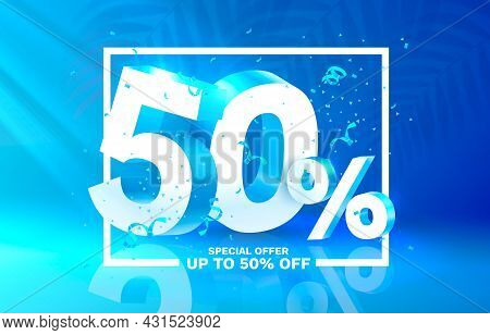 50 Off. Discount Creative Composition. 3d Sale Symbol With Decorative Objects. Sale Banner And Poste