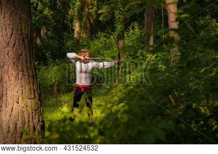 Archer Woman Folk Tradition Clothes Historical Photography Of Ukrainian Style In Green Wood Land Nat