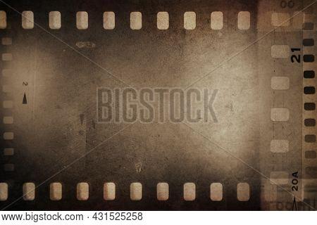 Film negative frames brown background