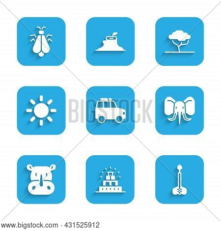 Set Car, Chichen Itza In Mayan, Arrow, Elephant, Rhinoceros, Sun, African Tree And Mosquito Icon. Ve