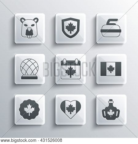 Set Heart Shaped Canada Flag, Bottle Of Maple Syrup, Flag, Day With Leaf, Canadian, Montreal Biosphe