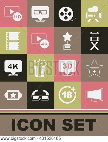 Set Megaphone, Walk Of Fame Star, Director Movie Chair, Film Reel, Screen Tv With 4k, Play Video, Hd