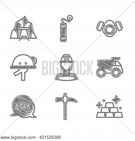 Set Miner In A Helmet, Pickaxe, Gold Bars, Mining Dump Truck, Dynamite, Gas Mask And Entrance Icon.