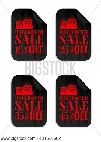 Halloween Black Sale Stickers Set With Scary Shopping Bags. Halloween Sale 15%, 25%, 35%, 45% Off. V