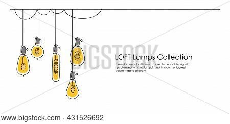 One Continuous Line Drawing Of Shining Lightbulbs. Hanging Modern Pendant Electric Loft Lamps With B