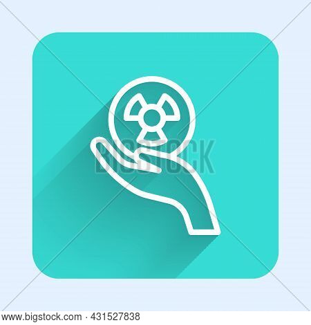 White Line Radioactive In Hand Icon Isolated With Long Shadow Background. Radioactive Toxic Symbol.
