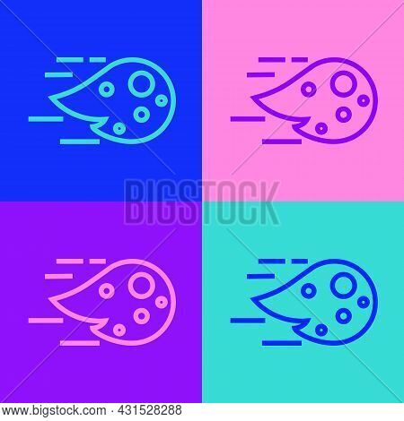 Pop Art Line Fireball Icon Isolated On Color Background. Vector