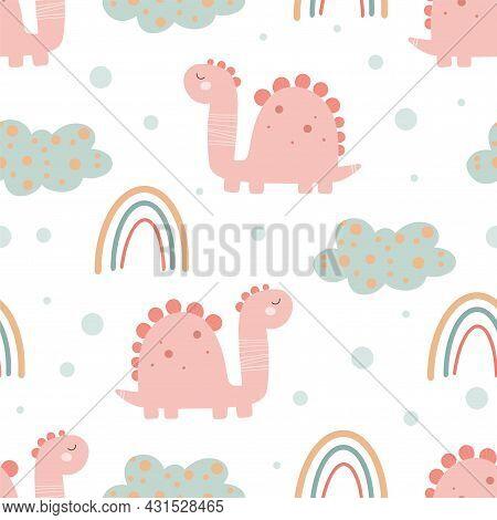 Cute Dinosaur Pattern - Hand Drawn Childish Dinosaur Seamless Pattern Design. Vector Illustration