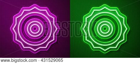 Glowing Neon Line Circular Saw Blade Icon Isolated On Purple And Green Background. Saw Wheel. Vector