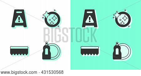 Set Dishwashing Liquid Bottle, Wet Floor, Sponge And Washing Dishes Icon. Vector