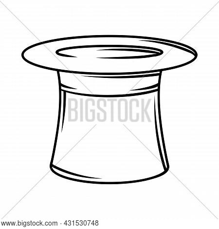 Illustration Of Cylinder Hat. Black And White Stylized Picture.