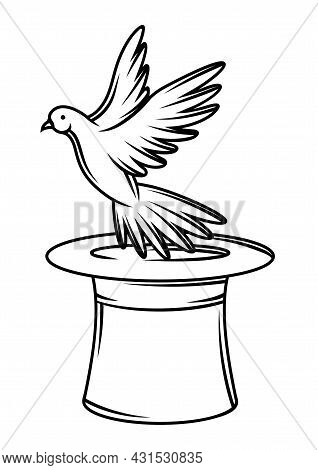 Magician Cylinder From Which Pigeon Fly Out. Trick Or Magic Illustration.