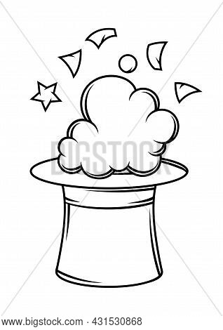 Magician Cylinder From Which Confetti And Smoke Fly Out. Trick Or Magic Illustration.