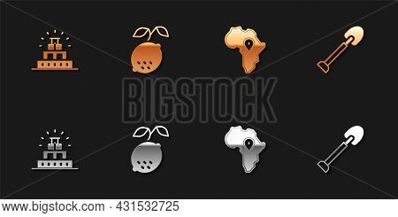 Set Chichen Itza In Mayan, Lemon, Map Of Africa And Shovel Icon. Vector