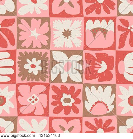 Floral Seamless Pattern With Hand Drawing Wild Flowers. Simple Pink Patchwork. Botanical Design For