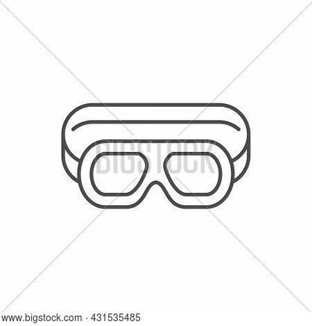 Motorcycle Glasses Line Outline Icon Isolated On White