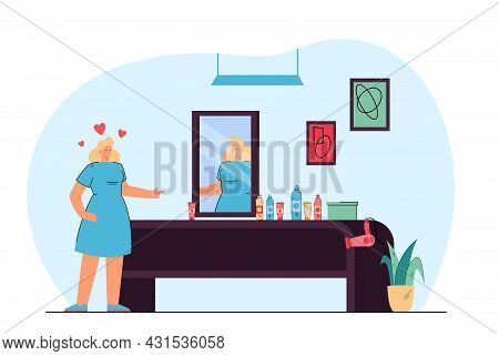 Female Cartoon Hairdresser Looking In Mirror. Woman With Hairdressing Equipment On Table, Hair Salon