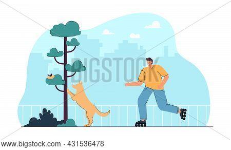 Cartoon Dog Owner On Roller Skates In Park. Puppy Looking At Bird Nest In Tree Flat Vector Illustrat