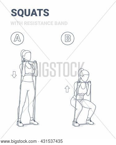 Girl Doing Squats Home Workout Exercise With Rubber Resistance Band Equipment Guidance.