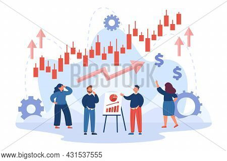 Company Characters Analyzing Business Performance Or Progress. Stock Market Growth Candlestick Chart