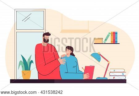 Father Helping Daughter With Her Homework. Flat Vector Illustration. Dad Teaching Child At Home, Ans