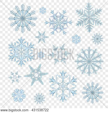 Realistic Blue Icy Snowflakes Decorative Icons Set Isolated On Transparent Background Vector Illustr