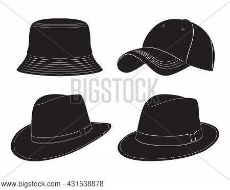 Various Types Of Men's Headwear. Silhouette. Hats, Baseball Cap, Headdress.