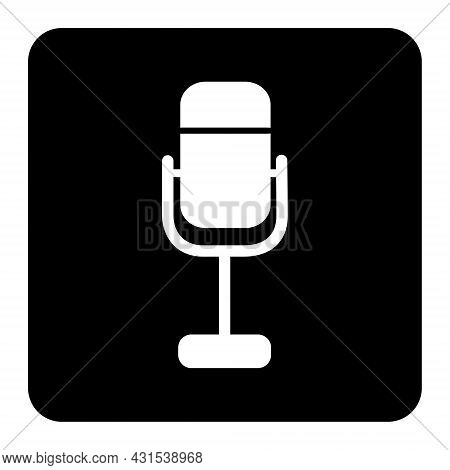 Microphone Icon Vector Flat Design. Voice Mic Icon Isolate On Black Background Drawing By Illustrati