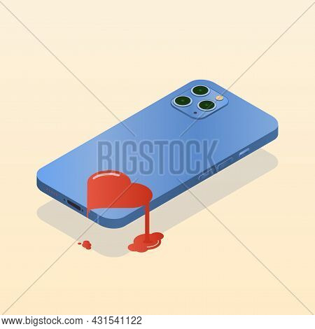 An Image Of The Phone Hovering Above The Surface With The Screen Down. Drawing Of A Heart On The Bac
