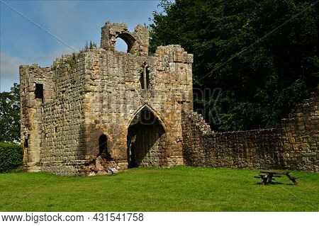 A View Of The Ruins Of The Medieval Castle Building In Etal In Northumberland