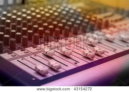 pic of profi audio mixer in the studio poster