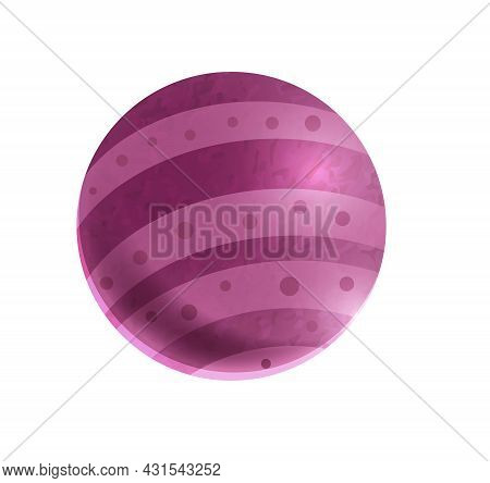 Cartoon Icon With Purple Ball On White Background Vector Illustration