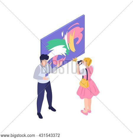 Art Gallery Isometric Icon With Painting Curator And Visitor Taking Pictures Vector Illustration