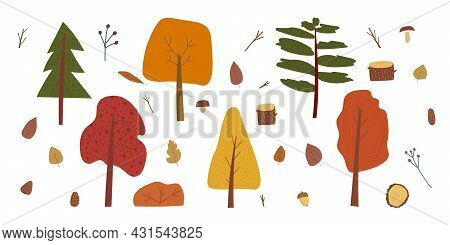 Hand Drawn Cartoon Vector Illustration Set Of Fall Nature Forest Park Landscape Background Elements