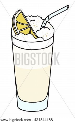 Ramos Fizz Classic Iba Listed Long Cocktail In Highball Glass. Garnished With Slice Of Lemon. Stylis