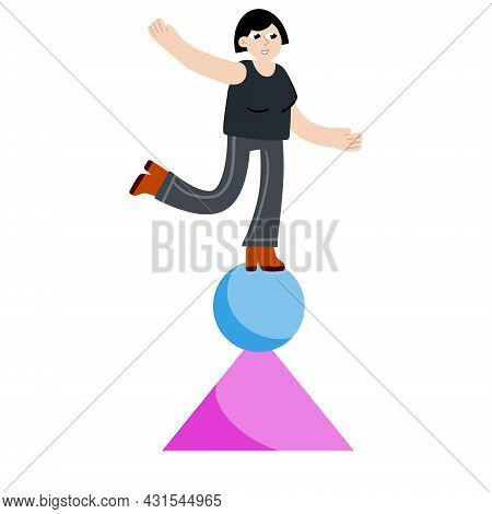 Woman Balancing On Geometric Figure. Concept Of Problem Solving And Multitasking. Circus And Yoga. B