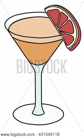 Brown Derby Aka De Rigueur Classic Cocktail In Martini Glass. An Elegant Drink Garnished With A Slic