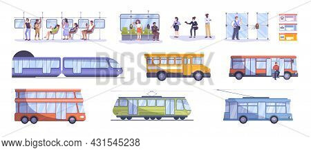 Flat Set With Various Means Of Public Transport Human Characters Of Passengers And Ticket Inspectors