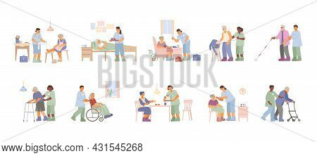 Flat Set With Caregivers And Nurses Taking Care Of Elderly Men And Women Isolated Vector Illustratio